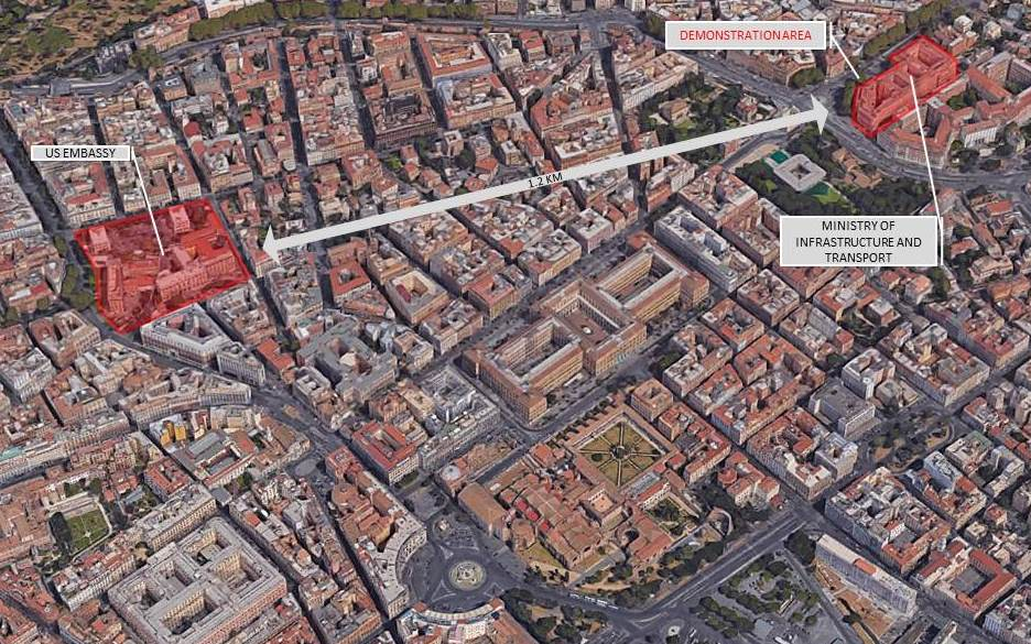 Security Message For US Citizens Demonstrations In Rome Italy - Us embassy map