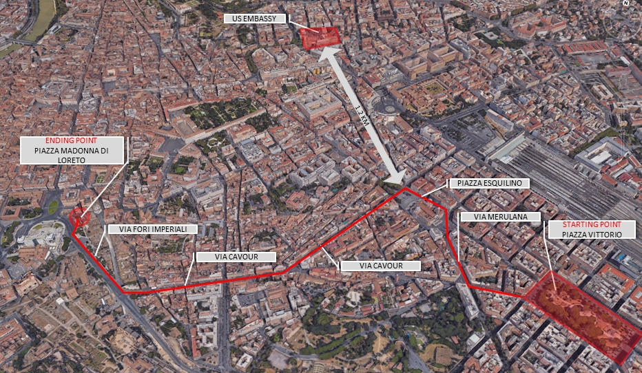 Security Message For US Citizens Demonstrations In Rome On - Us embassy map